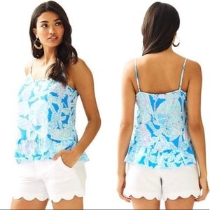 Lily Pulitzer Bay Blue into the Deep Ruffle Tank